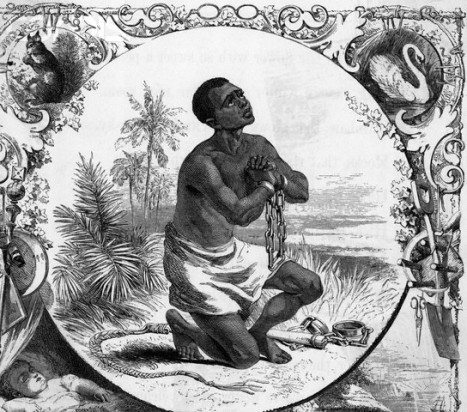 Engraving Of Slave In Chains Praying